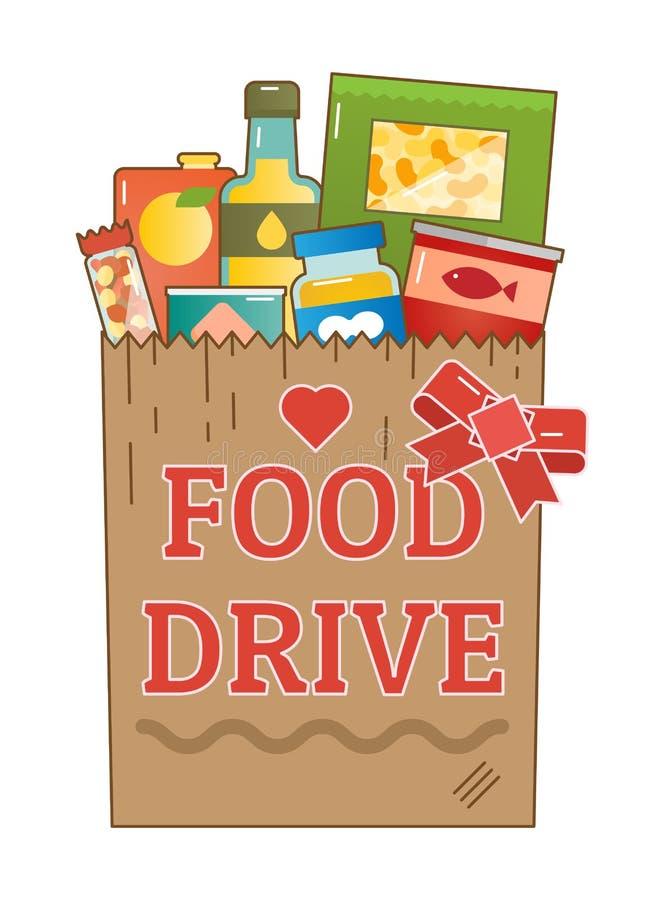 Illustrazione di vettore di logo del movimento di carità dell'azionamento dell'alimento illustrazione vettoriale