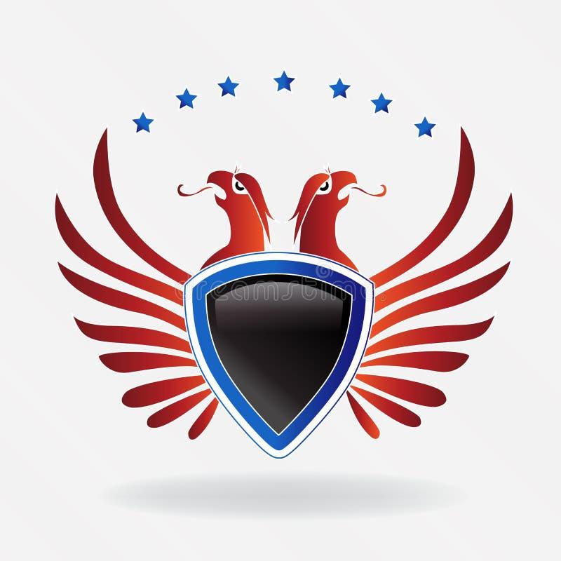 Illustrazione di vettore di logo di simbolo dello schermo dell'aquila di U.S.A. illustrazione vettoriale