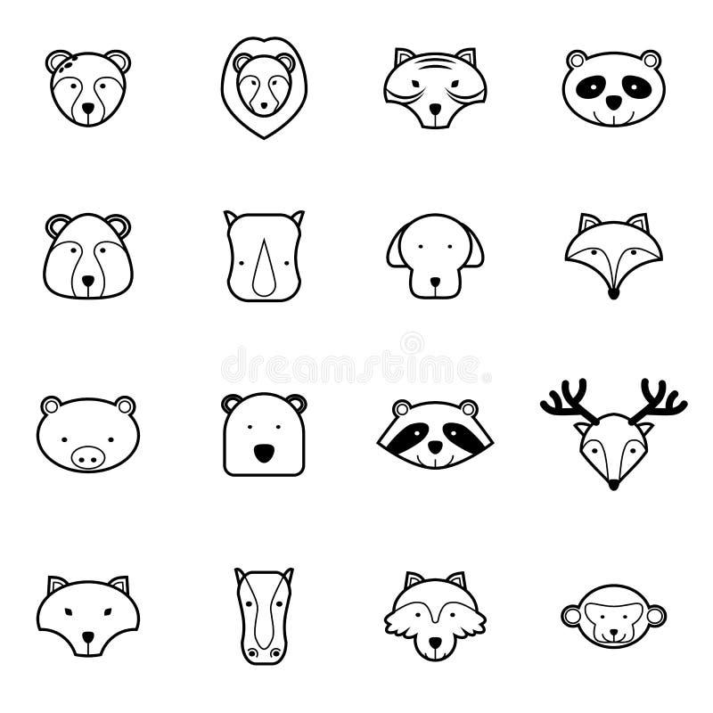Illustrazione di vettore messa icone animali illustrazione di stock