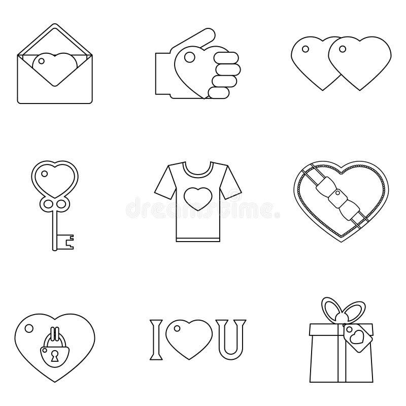 Illustrazione di vettore messa icone del cuore di amore di Lineart illustrazione di stock