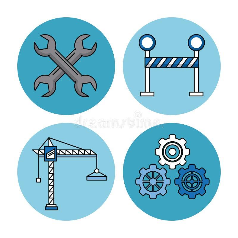 Illustrazione di vettore messa icone della costruzione illustrazione vettoriale