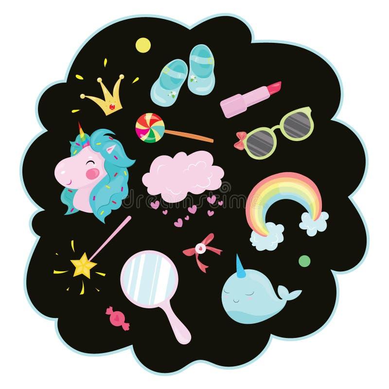 Illustrazione di vettore messa per la ragazza Raccolta dei disegni stilizzati per la principessa unicorn Rainbow illustrazione vettoriale