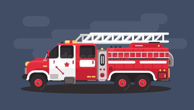 Illustrazione di vettore di migliore autopompa antincendio piana Illustrazione rossa dell'automobile dell'autopompa antincendio illustrazione di stock