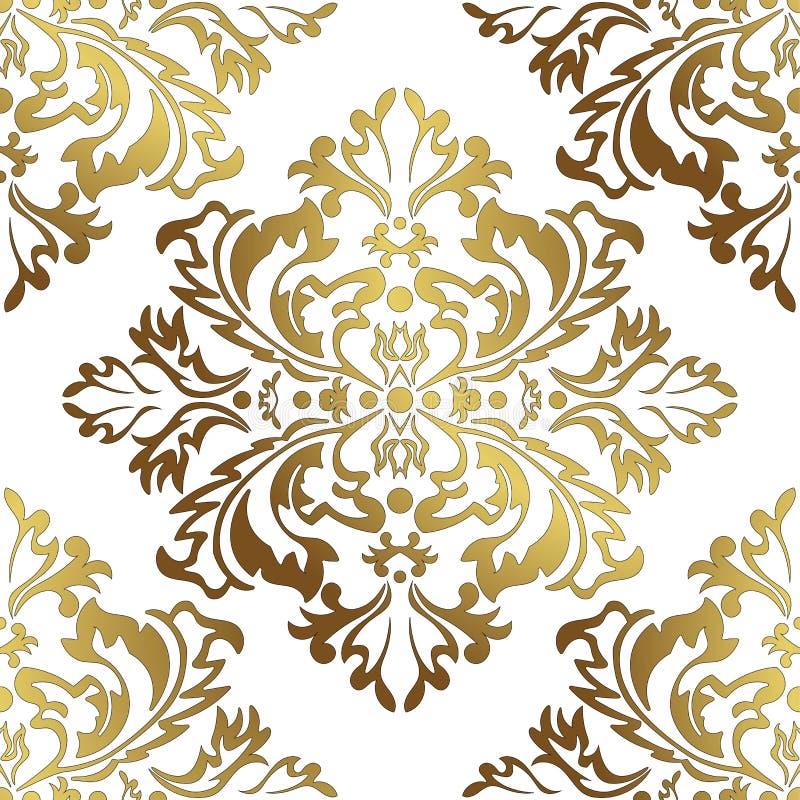 Illustrazione di vettore Modello di fiori senza cuciture del damasco Oro e fondo bianco illustrazione vettoriale