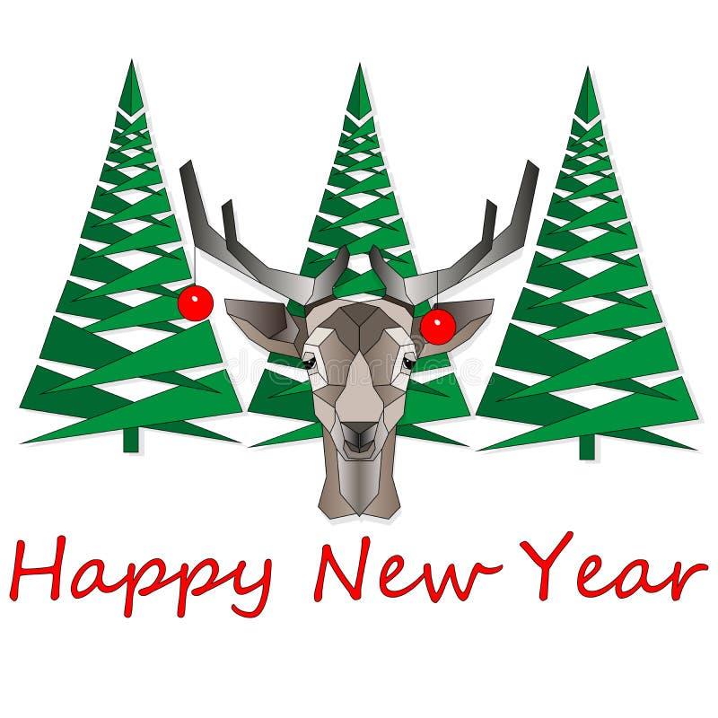 Illustrazione di vettore di Natale del fumetto isolata su bianco Carattere felice divertente dei cervi Per le cartoline di Natale illustrazione vettoriale