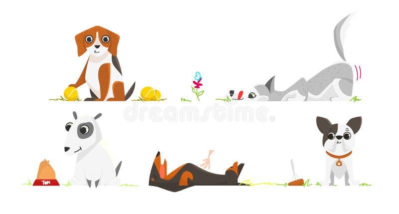 Illustrazione di vettore nello stile del fumetto Il cane è amore fotografie stock