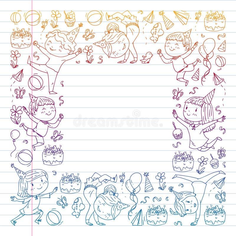 Illustrazione di vettore nello stile del fumetto, società attiva dei bambini prescolari allegri che saltano, ad un partito, compl illustrazione vettoriale