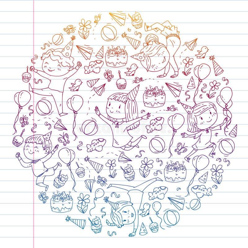 Illustrazione di vettore nello stile del fumetto, società attiva dei bambini prescolari allegri che saltano, ad un partito, compl illustrazione di stock
