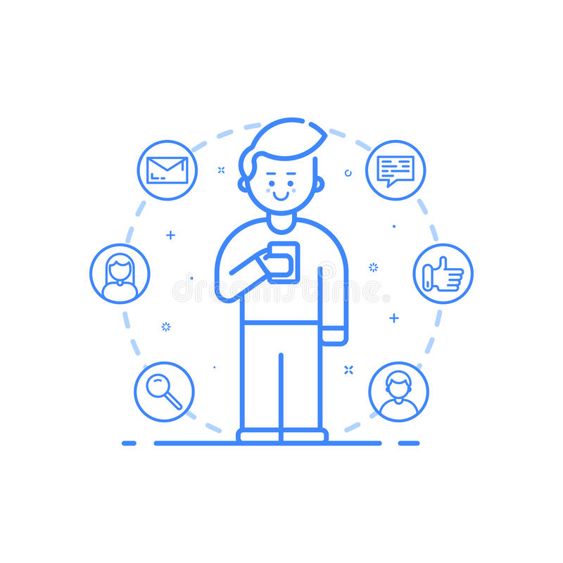 Illustrazione di vettore nello stile lineare audace piano Telefono cellulare della tenuta del ragazzo con il sorriso sul suo fron illustrazione di stock