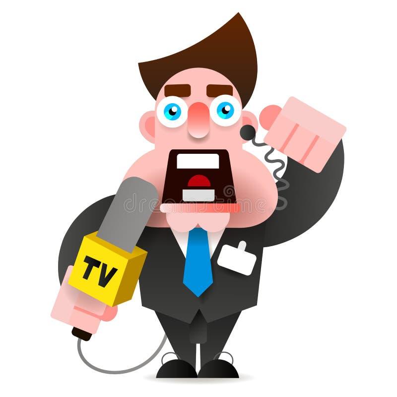Illustrazione di vettore di notizie dei cavi della mano di With Microphone In del reporter illustrazione di stock