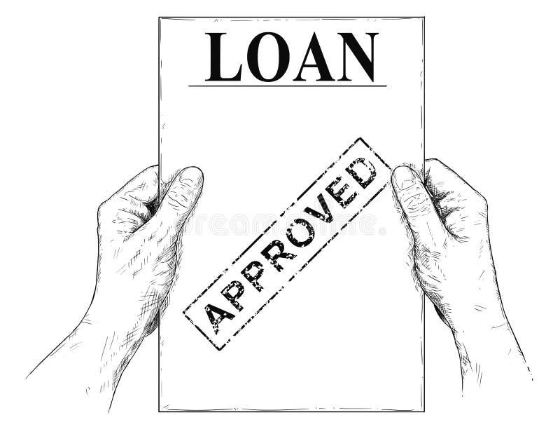 Illustrazione di vettore o disegno artistica delle mani che tengono il documento approvato di applicazione di prestito illustrazione vettoriale