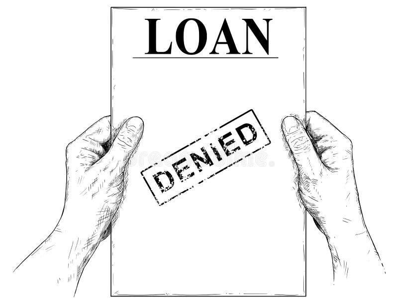 Illustrazione di vettore o disegno artistica delle mani che tengono il documento negato di applicazione di prestito illustrazione di stock