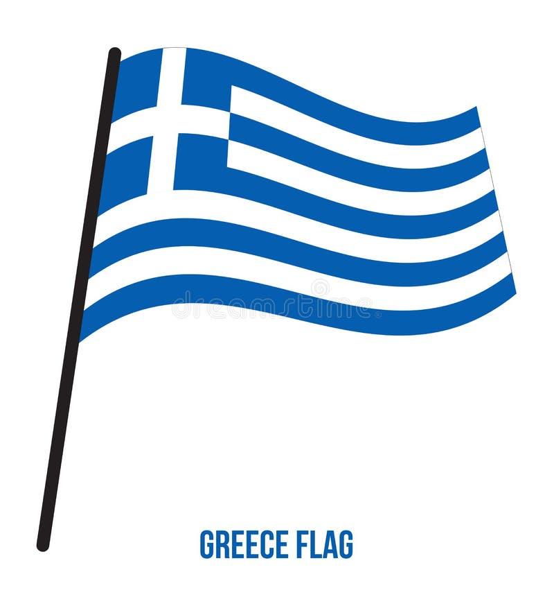 Illustrazione di vettore di ondeggiamento della bandiera della Grecia su fondo bianco Bandiera nazionale della Grecia royalty illustrazione gratis