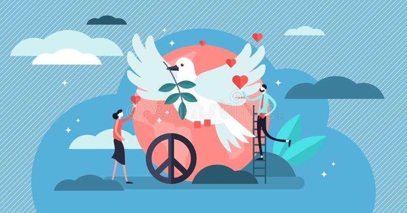 Illustrazione di vettore di pace Amore, calma e concetto minuscoli piani delle persone di armonia royalty illustrazione gratis