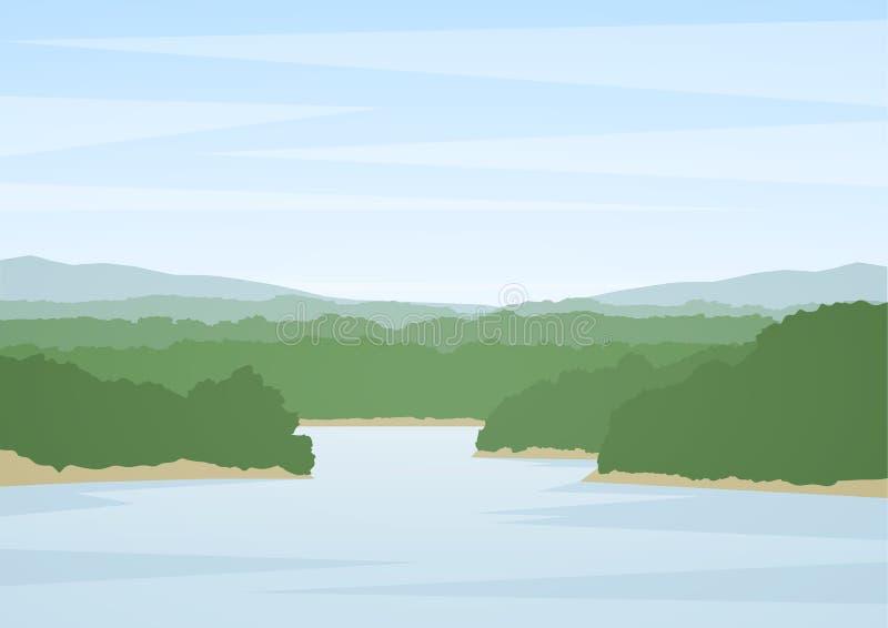 Illustrazione di vettore: Paesaggio del fiume di estate illustrazione vettoriale