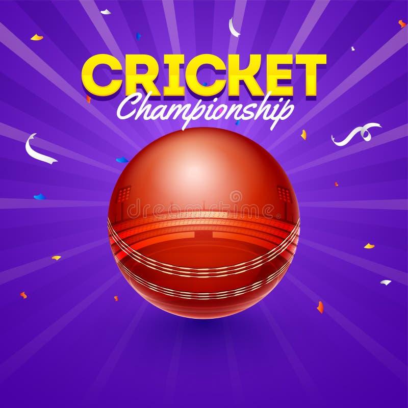 Illustrazione di vettore di palla da cricket con la vista dello stadio sul fondo blu dei raggi illustrazione vettoriale