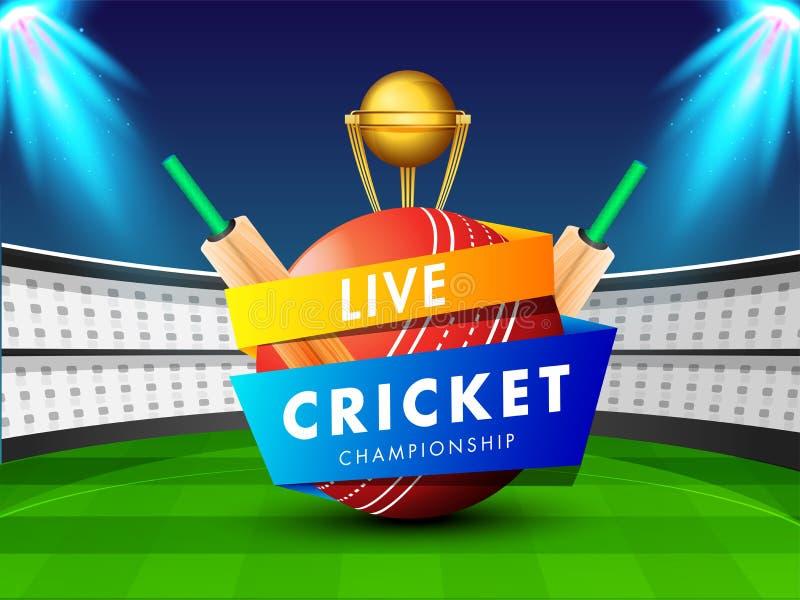 Illustrazione di vettore di palla da cricket, dei pipistrelli e del trofeo dorato sul fondo di vista dello stadio di notte royalty illustrazione gratis
