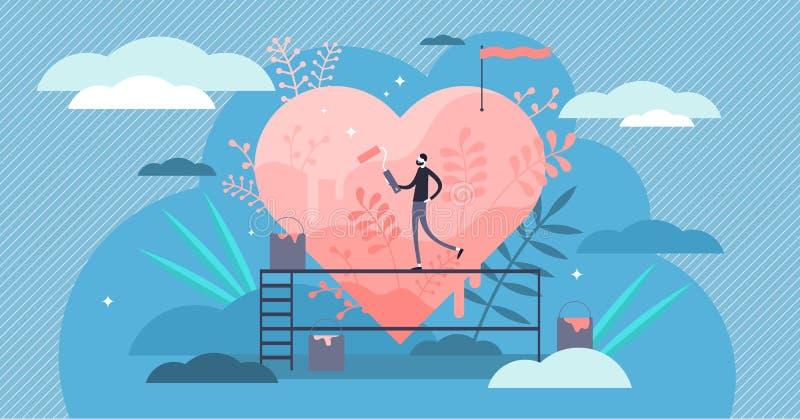 Illustrazione di vettore di passione Concetto ritenente delle persone di amore minuscolo piano di hobby royalty illustrazione gratis