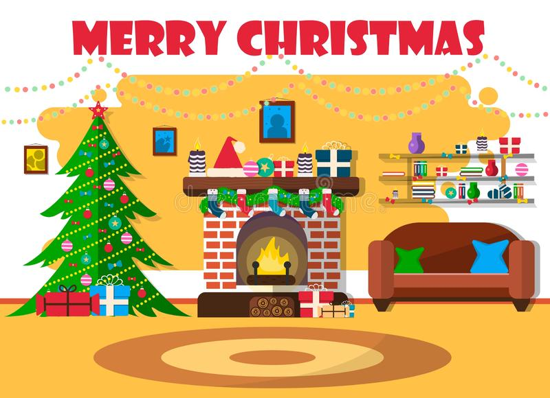Illustrazione di vettore per il Natale con l'albero di Natale e la retro mobilia Progettazione piana con l'abete rosso ed il cami royalty illustrazione gratis
