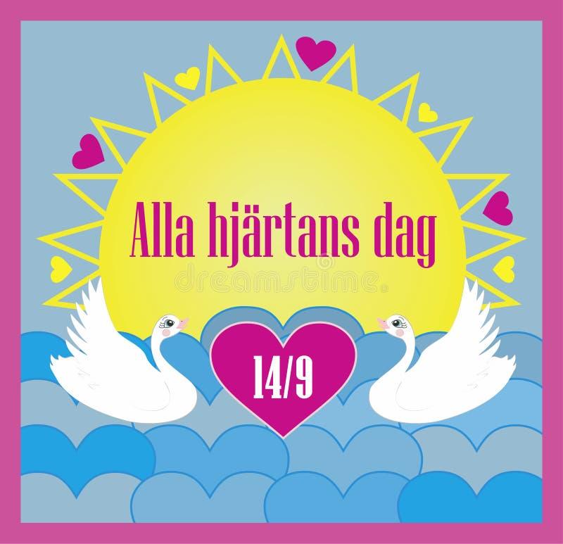 Illustrazione di vettore per il San Valentino con testo svedese per l'evento; Hjärtans dag di Alla illustrazione di stock