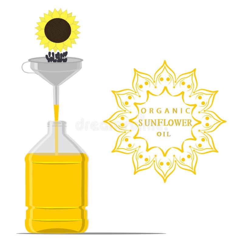 Illustrazione di vettore per l'olio di girasole giallo della bottiglia, barattolo di plastica royalty illustrazione gratis