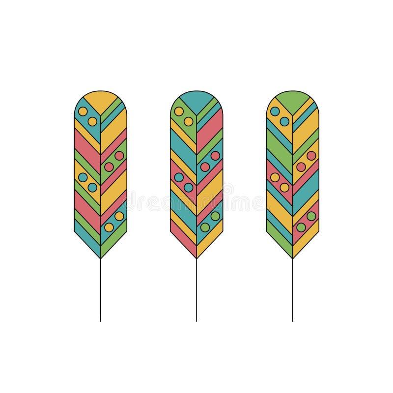 Illustrazione di vettore Piume etniche Stile piano, piume colorate royalty illustrazione gratis