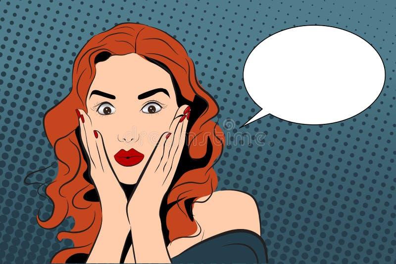 Illustrazione di vettore di Pop art con la ragazza stupita illustrazione vettoriale