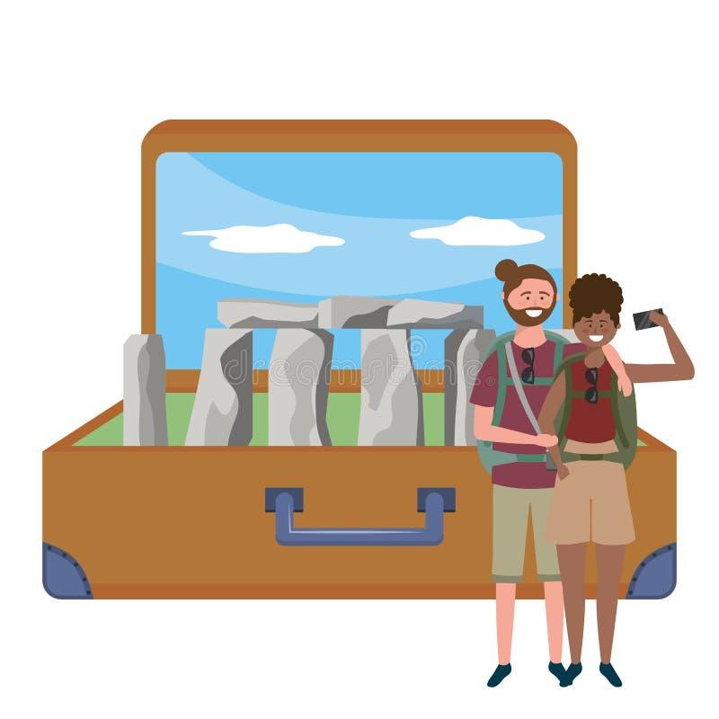 Illustrazione di vettore di progettazione del punto di riferimento di Stonehenge Inghilterra illustrazione vettoriale