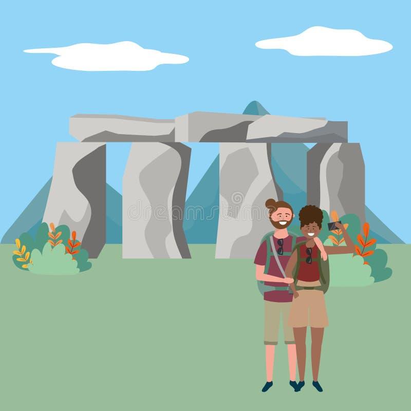 Illustrazione di vettore di progettazione del punto di riferimento di Stonehenge Inghilterra illustrazione di stock