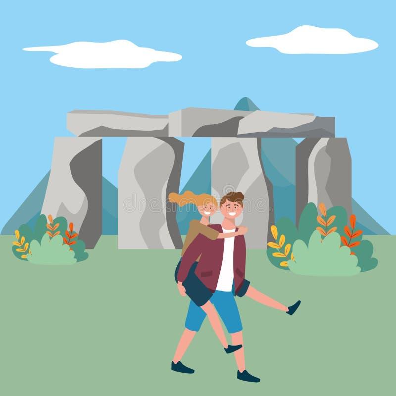 Illustrazione di vettore di progettazione del punto di riferimento di Stonehenge Inghilterra royalty illustrazione gratis