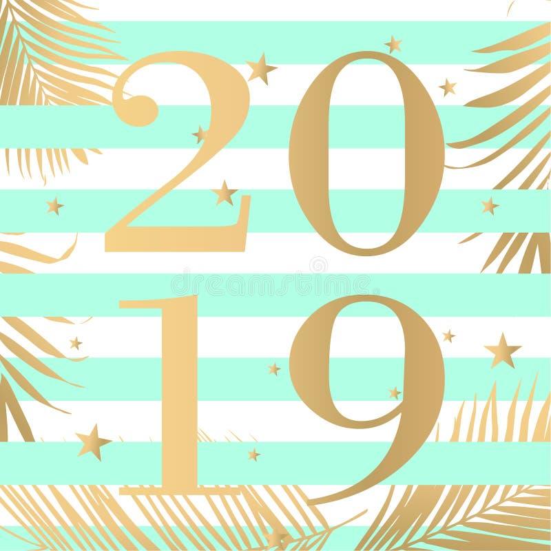 Illustrazione di vettore di progettazione del testo di modo 2019 del buon anno royalty illustrazione gratis