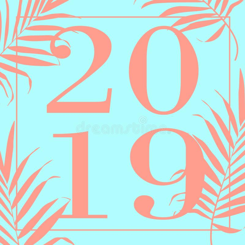 Illustrazione di vettore di progettazione del testo del turchese 2019 del buon anno royalty illustrazione gratis