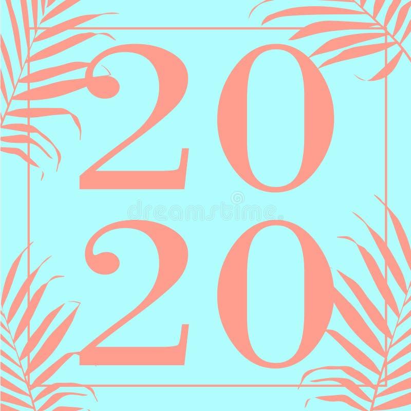 Illustrazione di vettore di progettazione del testo del turchese 2020 del buon anno royalty illustrazione gratis