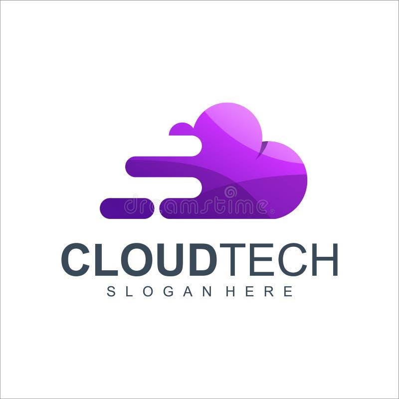 Illustrazione di vettore di progettazione di logo di tecnologia della nuvola illustrazione di stock