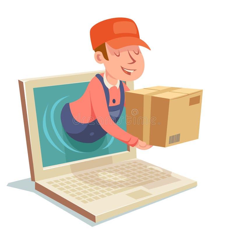 Illustrazione di vettore di progettazione di personaggio dei cartoni animati del monitor del computer della scatola di concetto d illustrazione vettoriale