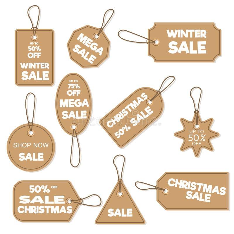 Illustrazione di vettore di promozione di acquisto di pubblicità di offerta di inverno di natale di sconto di festa dell'insegna  illustrazione di stock