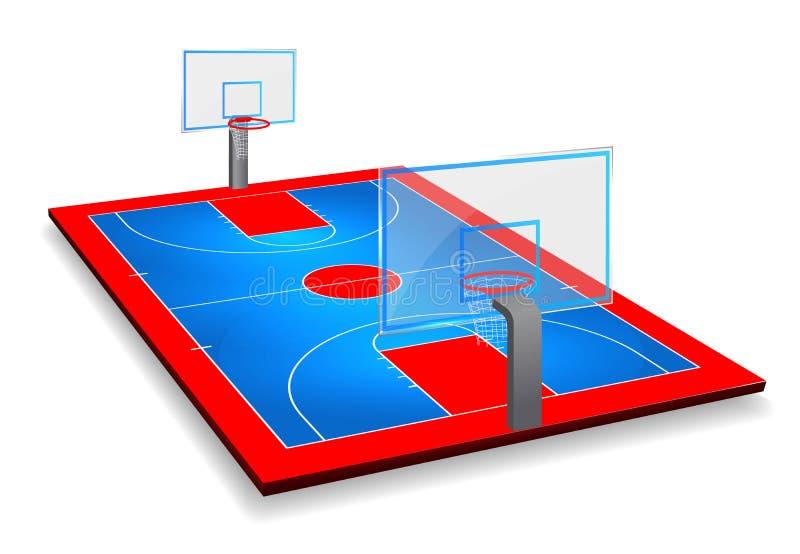 Illustrazione di vettore di prospettiva del campo del campo da pallacanestro con lo schermo Vettore ENV 10 Stanza per la copia illustrazione vettoriale