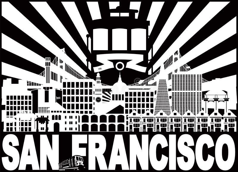 Illustrazione di vettore di San Francisco Skyline Trolley Sun Rays illustrazione vettoriale