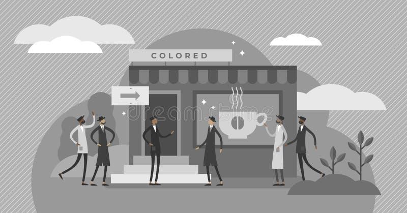 Illustrazione di vettore di segregazione razziale Concetto minuscolo piano delle persone di diversità illustrazione di stock