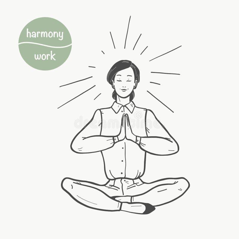 Illustrazione di vettore di signora dell'ufficio di affari che si siede nel meditare di posa di asana del loto di yoga isolata su royalty illustrazione gratis