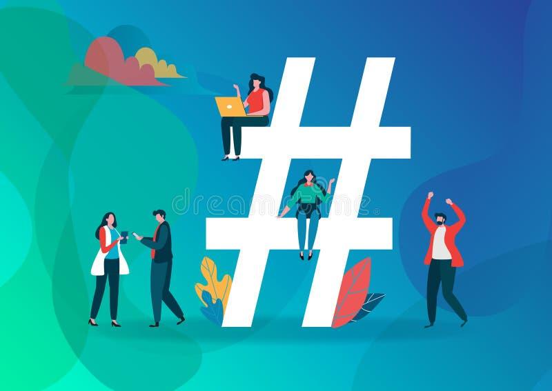 Illustrazione di vettore di simbolo di Hashtag Gruppo di persone sui media sociali Progettazione grafica del personaggio dei cart illustrazione vettoriale