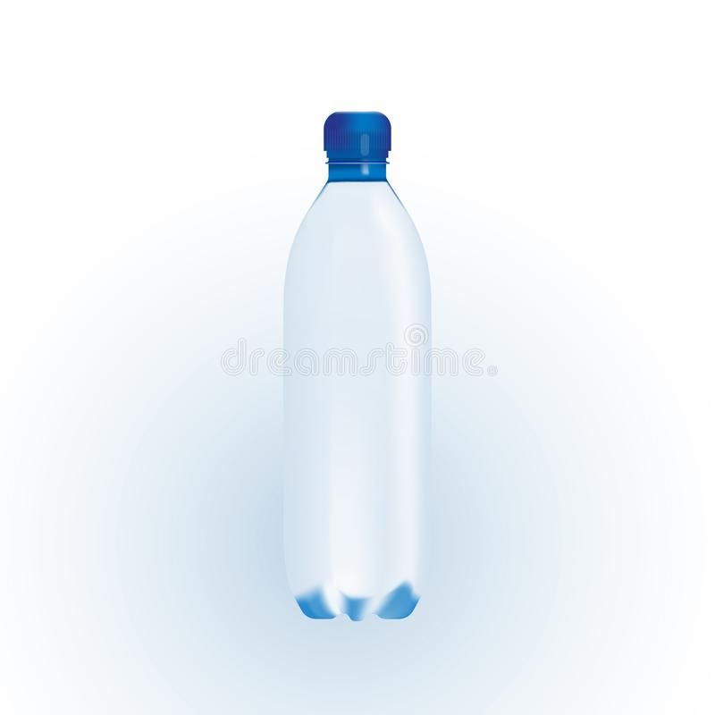 Illustrazione di vettore di singola bottiglia transarent di acqua su un fondo bianco royalty illustrazione gratis