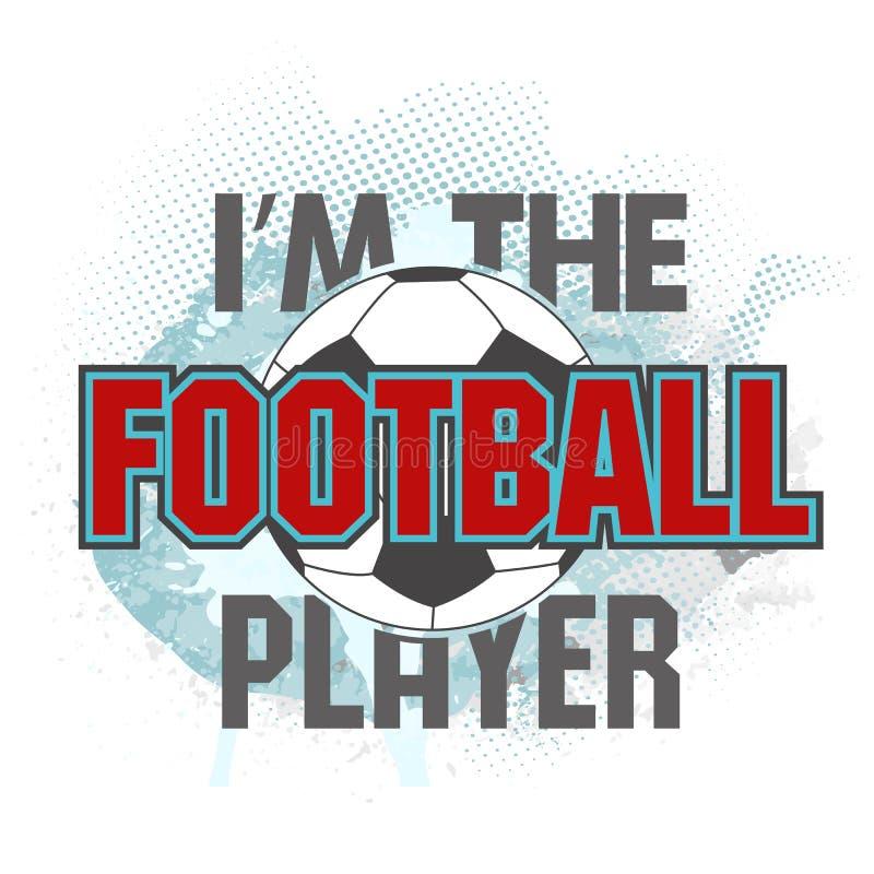 Illustrazione di vettore sono il giocatore di football americano ed il pallone da calcio illustrazione di stock