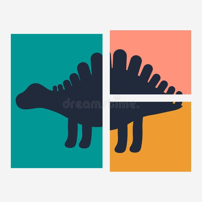 Illustrazione di vettore Stegosauro sveglio del dinosauro della siluetta Stampa per i bambini Rosa, bianco, blu scuro, arancio illustrazione vettoriale
