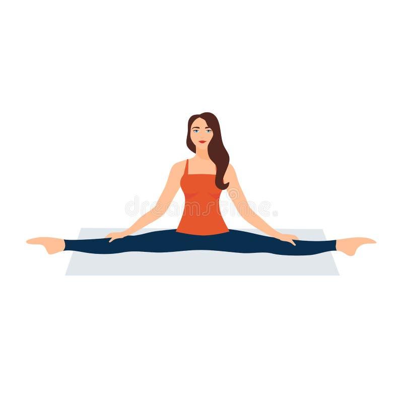 Illustrazione di vettore su priorit? bassa bianca Asanas con cordicella nell'yoga Bella giovane donna che fa allungamento relativ illustrazione vettoriale