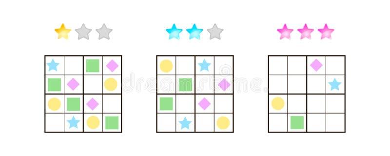 Illustrazione di vettore Sudoku per i bambini con le immagini a differente illustrazione di stock