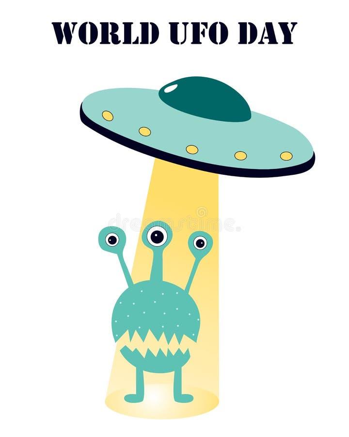 Illustrazione di vettore sull'argomento del ufology: UFO, straniero royalty illustrazione gratis