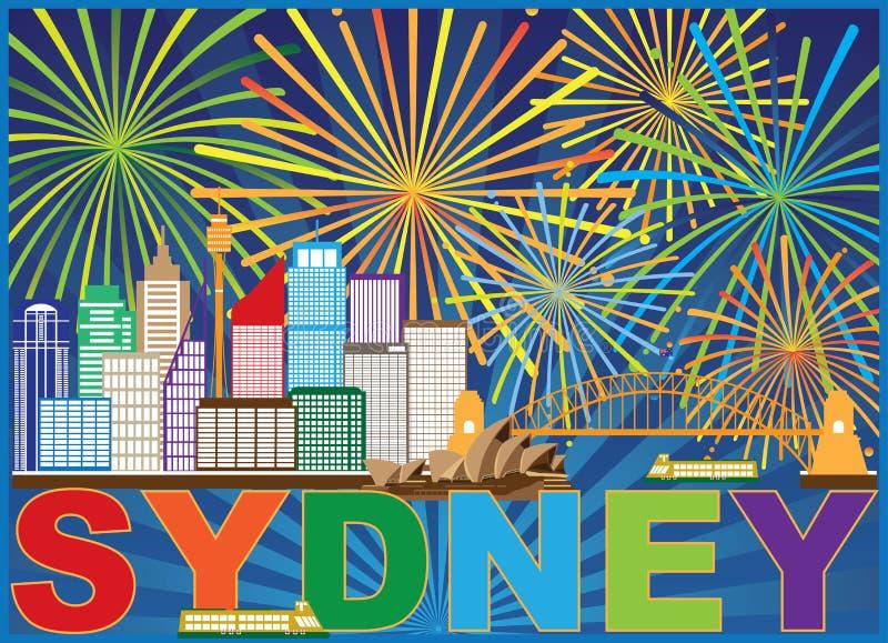 Illustrazione di vettore di Sydney Australia Skyline Fireworks illustrazione di stock