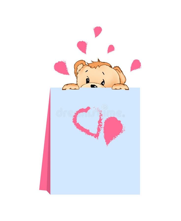 Illustrazione di vettore di Teddy Bear Hiding Behind Card illustrazione di stock