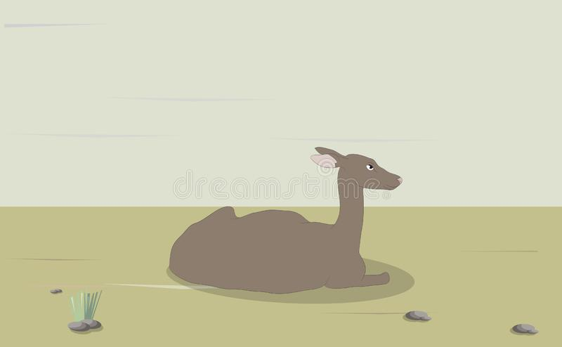 Illustrazione di vettore di un cervo femminile che si trova sulla natura royalty illustrazione gratis
